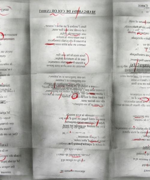 """""""Cada fracàs ensenya a l'èsser humà quelcom que necessitava aprendre"""" (Ch. Dickens) 4, grafit, tóner i acrílic sobre paper, 67×100 cm., 2009"""