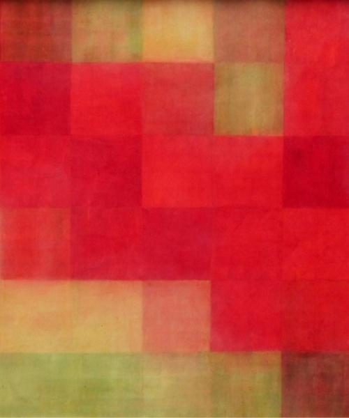 Vermell sobre grog, Tremp d'ou sobre fusta, 83x122 cm., 2013-14